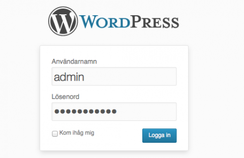 logga in WordPress